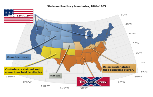 PointsMarkersLabels On A Map - Us map dates of secession